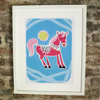 PRETTY PINK PONY PRINT POSTER. A4 SIZE. FREE UK MAINLAND DELIVERY