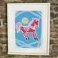 PRETTY PONY PRINT POSTER. A3 SIZE. FREE UK MAINLAND DELIVERY.