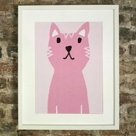 CUTE CAT PRINT POSTER. A4 SIZE. FREE UK MAINLAND DELIVERY.