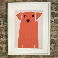 DOG PRINT POSTER. A4 SIZE FREE UK MAINLAND DELIVERY.