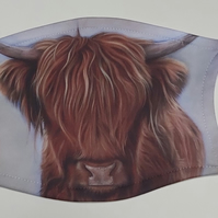 "Highland cow ""Angus"" face covering mask with 2 free carbon filters Adult"