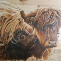 "Highland cow and calf painting ""The Kiss""  Oil painting on wood. Reclaimed wood"
