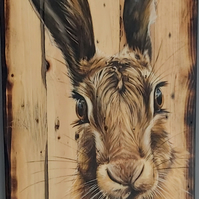 Hare painting on wood, Original art, oil on reclaimed wood