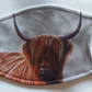Snowy Highland cow face mask, covering with 2 free carbon filters
