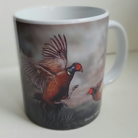 Fighting pheasants mug