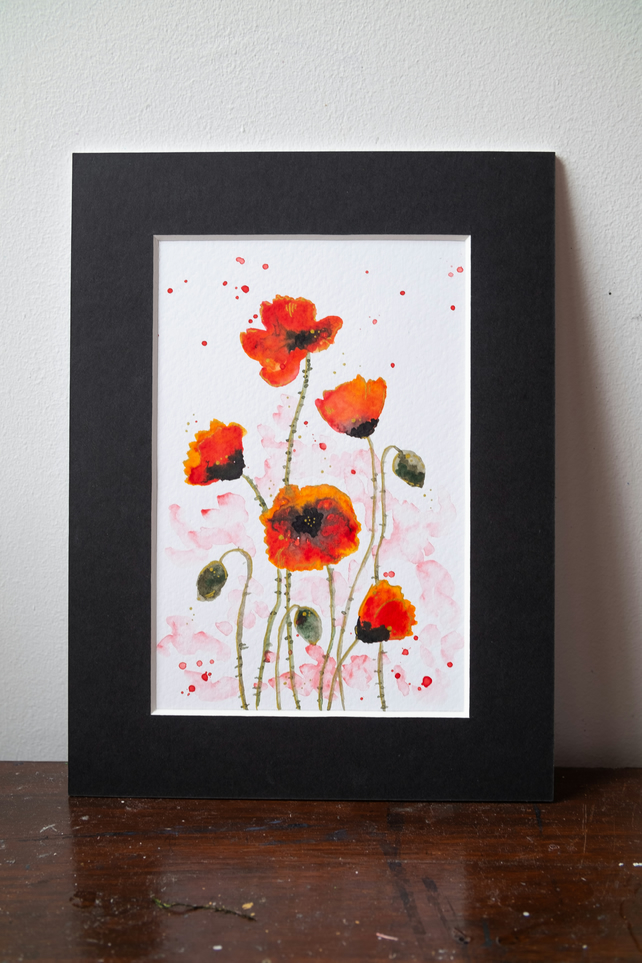 Watercolour poppies, mounted