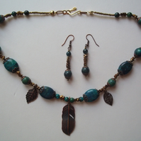 Russian agate and antique copper necklace and matching earrings