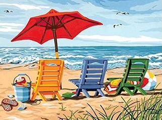 ON THE BEACH COLOURED CHART CROSS STITCH KIT