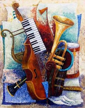MUSICAL INSTRUMENTS COLOURED CHART CROSS STITCH KIT