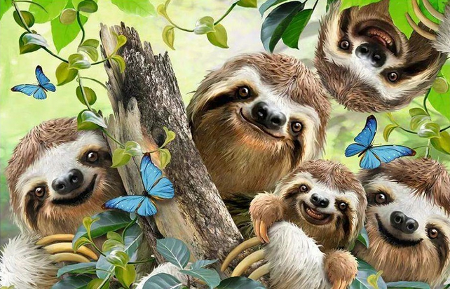 SLOTH FAMILY COLOURED CHART CROSS STITCH KIT