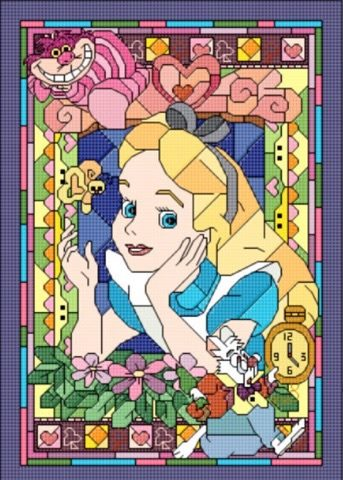 ALICE (6) COLOURED CHART CROSS STITCH KIT