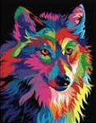 COLOURFUL WOLF COLOURED CHART CROSS STITCH KIT