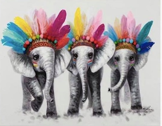 ELEPHANT (K)  COLOURED  CROSS STITCH KIT