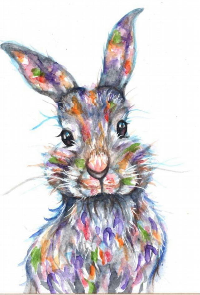RABBIT (4) COLOURED    CROSS STITCH KIT