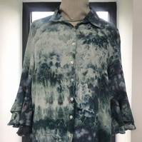 "Ice dyed crepe blouse size 14 petite ""Flamenco"""