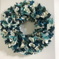 Fabric wreath, wall decor, shelf decor, room decor, shabby chic fabric wreath