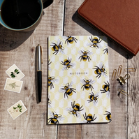 A5 Lined Bee Pattern Notebook