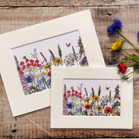 Wildflower Print. Mounted wild meadow art print. 6x8 inches or 8x10 inches.