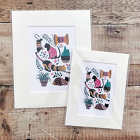 Cats block print. Mounted cat themed art print. 6x8 inches or 8x10 inches.