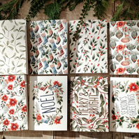 Christmas themed set of 8 notecards and envelopes