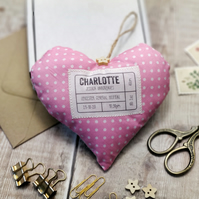 New Baby Gift, Personalised Fabric Heart Decoration, Printed Fabric Keepsake