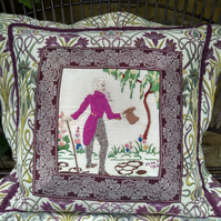 Vintage Embroidery Cushion - The Courting Gentleman