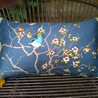 Vintage Silk Cushion - Bluebird and Blossoms
