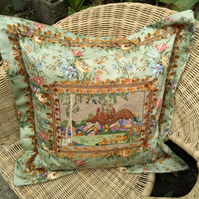 Vintage Embroidery Cushion - Emma's Bluebell Cottage