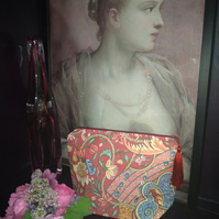 Large Vintage Fabric Cosmetic Bag