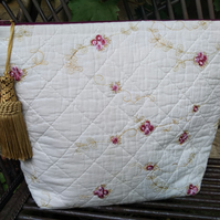 Large Quilted and Vintage Fabric Cosmetic Bag