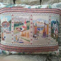 A Tyrolean Holiday - Vintage Embroidery and Linen Cushion