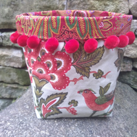 Vintage Fabric Storage Basket - Small