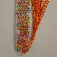 Personalised Handmade UV Resin bookmark Clear with fruit embellishment
