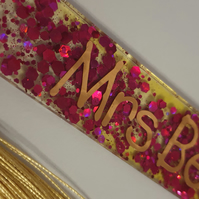 Personalised Handmade UV Resin bookmark Coloured resin and chunky glitter