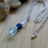 Blue glass pendant necklace, with silver plated adjustable chain.