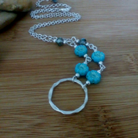 Turquoise flower bead Necklace, silver plated minimalist ladies Jewellery