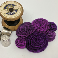 Large vintage inspired felted flowers brooch in shades of purple