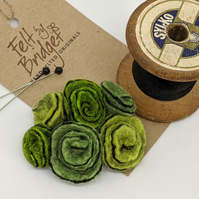 Small vintage inspired felted flowers brooch in shades of green