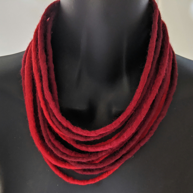 Felted cord necklace in shades of red - scarlet, pillar box and ruby