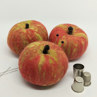 Felted wool fruit pincushion: Cox's red apple