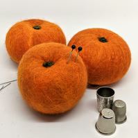 Felted wool fruit pincushion: Orange