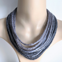 Felted cord necklace in shades of grey