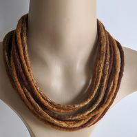 Felted cord necklace in shades of autumn browns