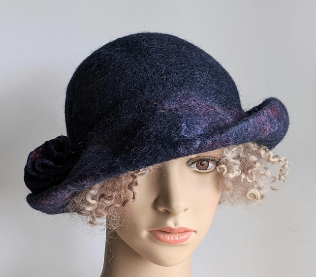 Deep navy felted wool hat  - One of the 'Squashable' range