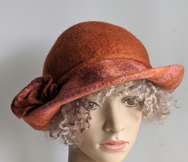 Rust orange felted wool hat - One of the 'Squashable' range