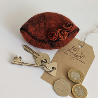 Small felted Pod Purse: Orange