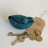 Small felted Pod Purse: teal turquoise