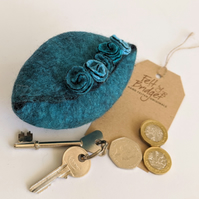 Wet felted Pod Purse: Teal turquoise purse (L)