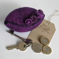 Wet felted Pod Purse: Purple (L)
