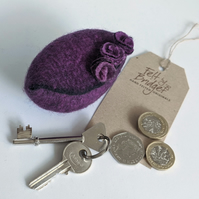 Small felted Pod Purse: purple